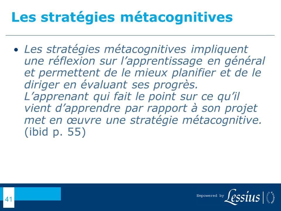 Les stratégies métacognitives