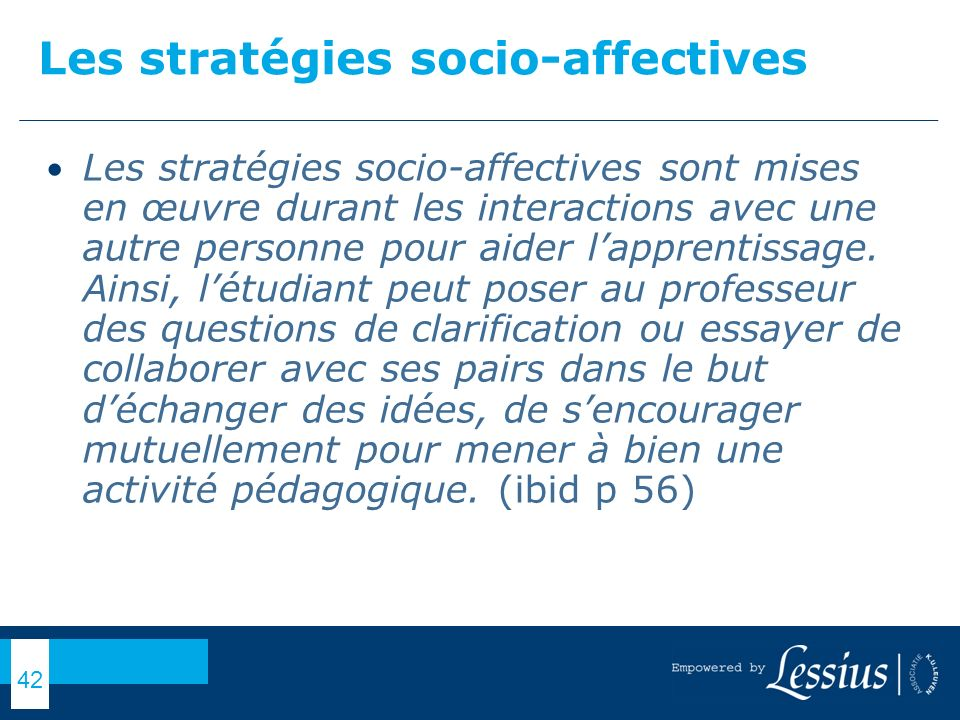 Les stratégies socio-affectives