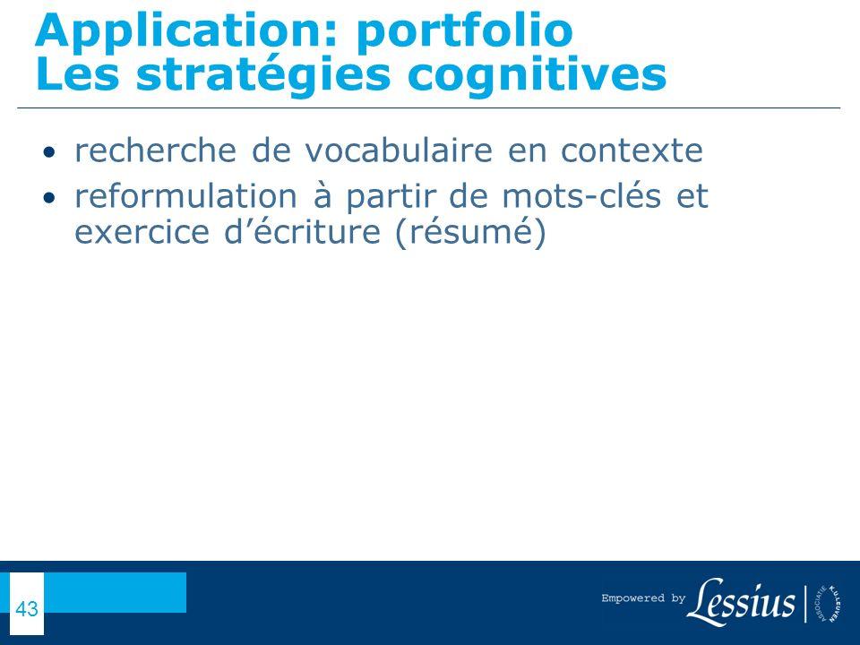 Application: portfolio Les stratégies cognitives
