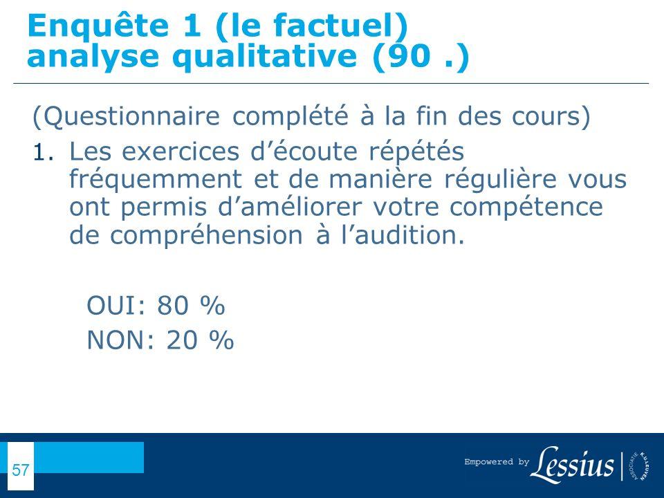 Enquête 1 (le factuel) analyse qualitative (90 .)