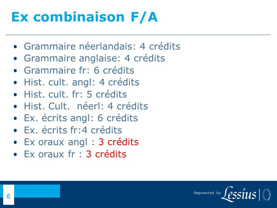 Ex combinaison F/A Grammaire néerlandais: 4 crédits