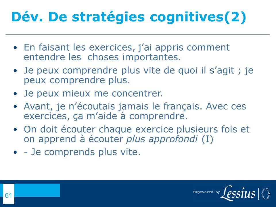 Dév. De stratégies cognitives(2)