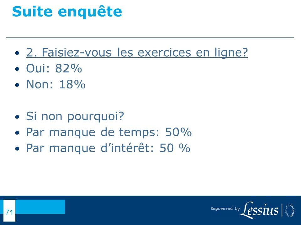 Suite enquête 2. Faisiez-vous les exercices en ligne Oui: 82%