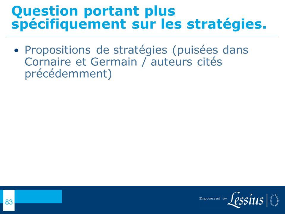 Question portant plus spécifiquement sur les stratégies.
