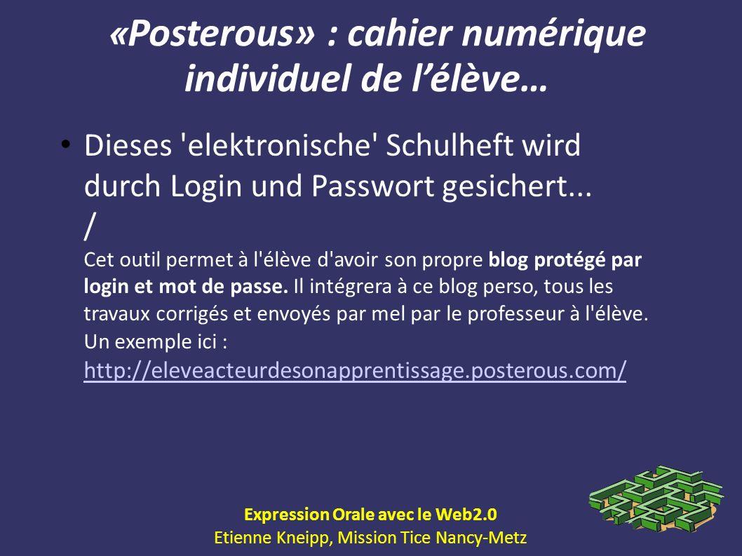 «Posterous» : cahier numérique individuel de l'élève…