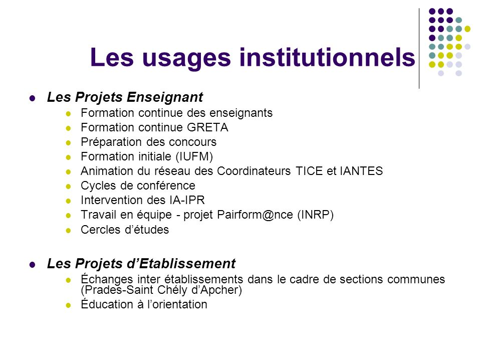 Les usages institutionnels