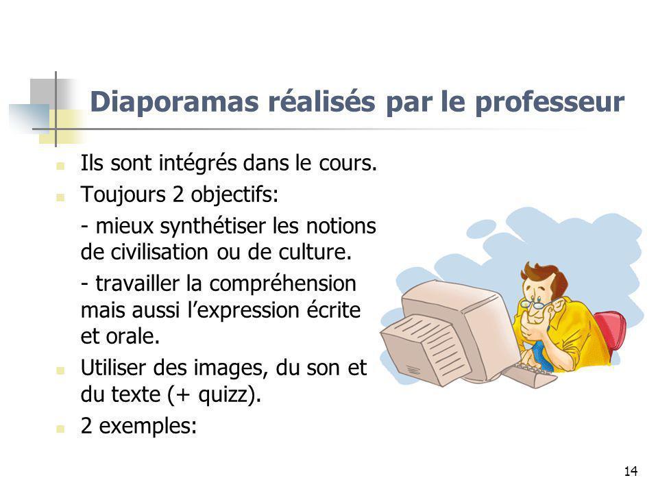 Diaporamas réalisés par le professeur