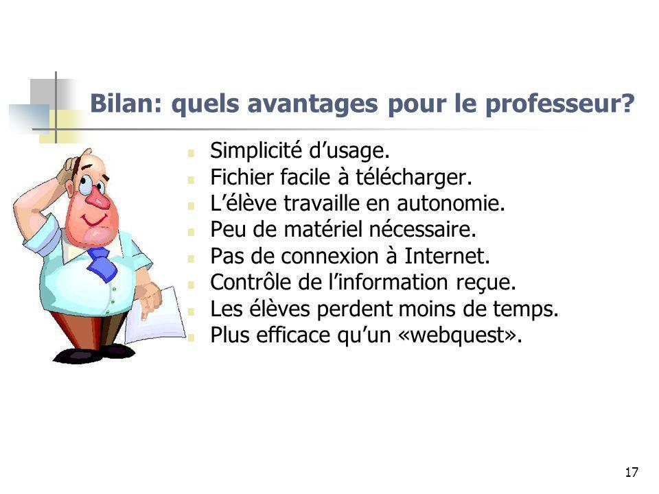 Bilan: quels avantages pour le professeur