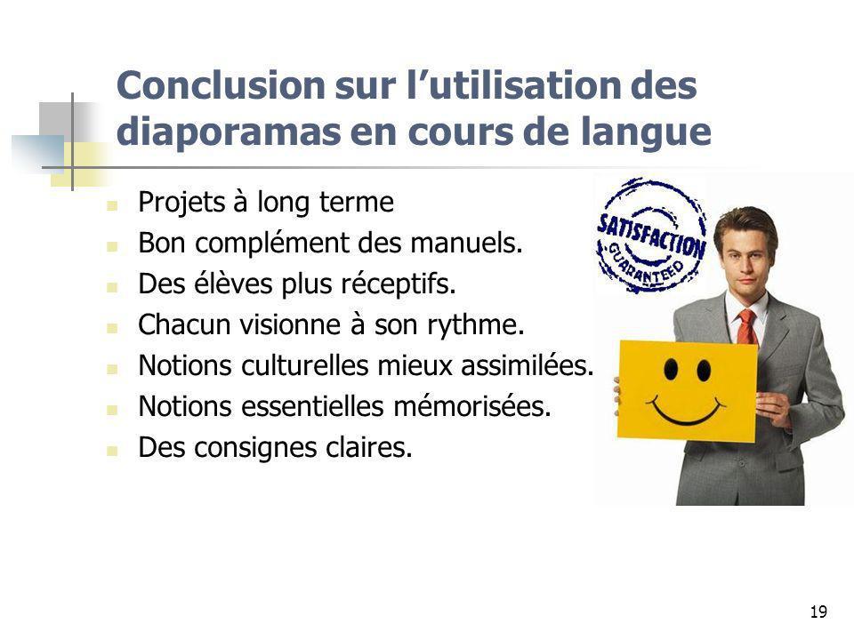 Conclusion sur l'utilisation des diaporamas en cours de langue