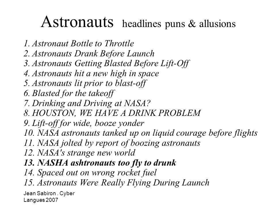 Astronauts headlines puns & allusions