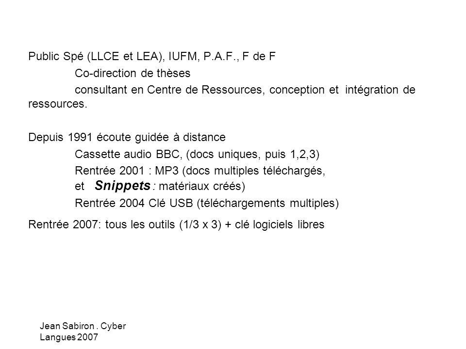 Public Spé (LLCE et LEA), IUFM, P.A.F., F de F Co-direction de thèses