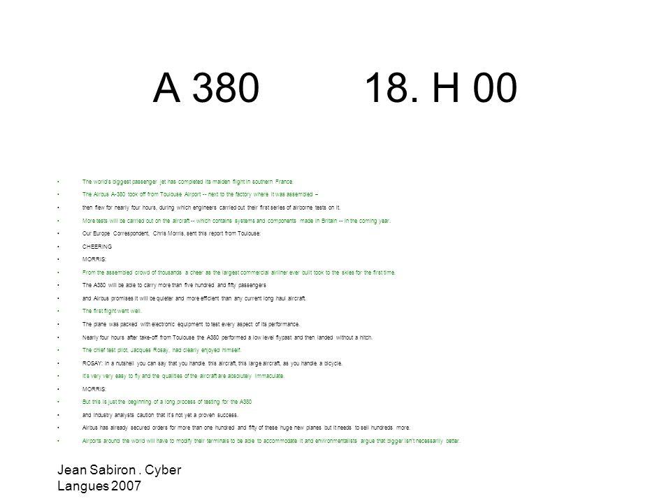 A 380 18. H 00 Jean Sabiron . Cyber Langues 2007