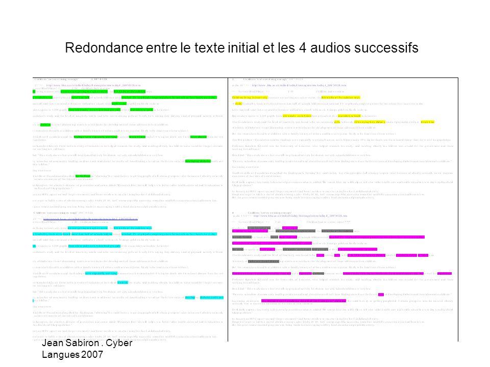 Redondance entre le texte initial et les 4 audios successifs