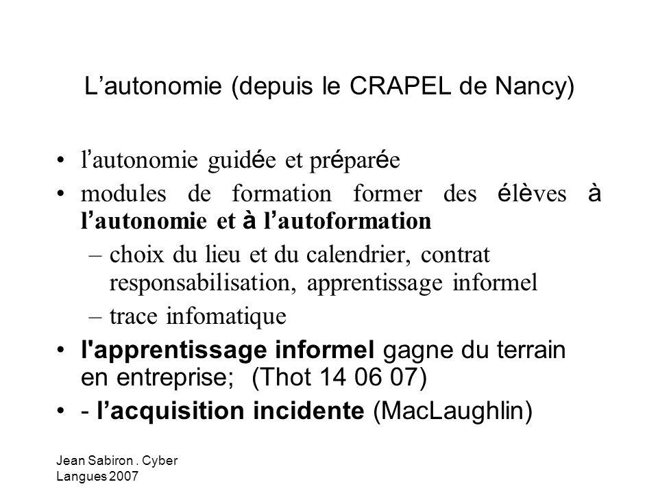 L'autonomie (depuis le CRAPEL de Nancy)