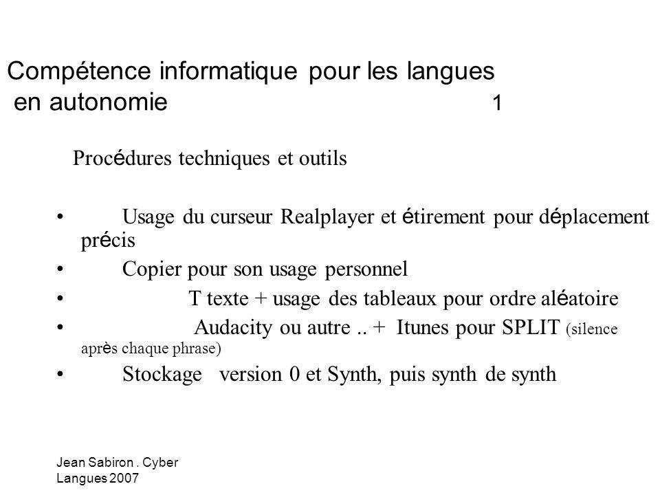 Compétence informatique pour les langues en autonomie 1