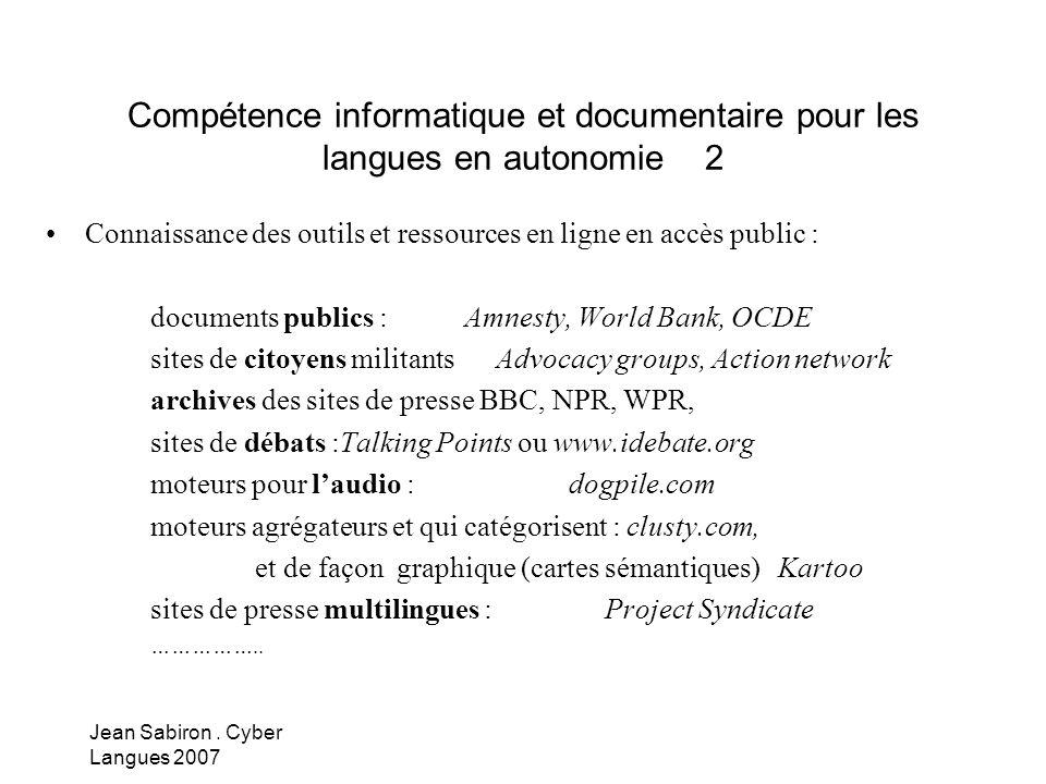 Compétence informatique et documentaire pour les langues en autonomie 2