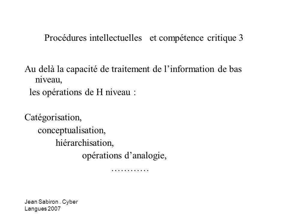 Procédures intellectuelles et compétence critique 3
