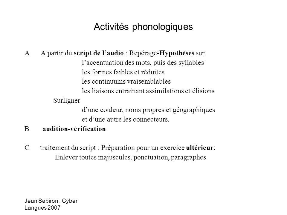 Activités phonologiques