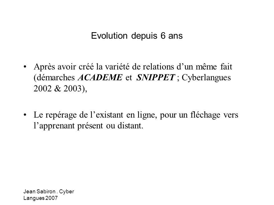 Evolution depuis 6 ans Après avoir créé la variété de relations d'un même fait (démarches ACADEME et SNIPPET ; Cyberlangues 2002 & 2003),