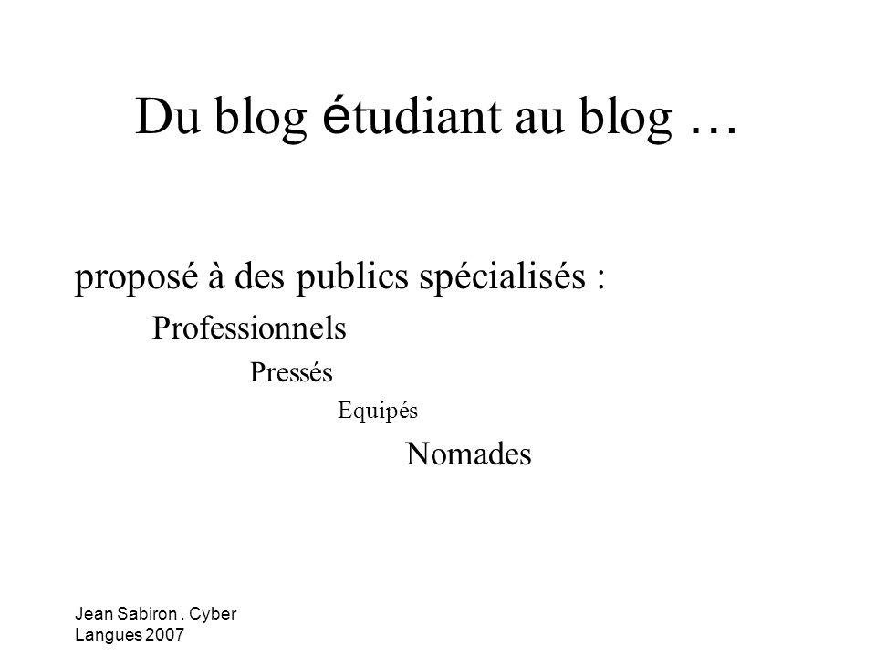 Du blog étudiant au blog …