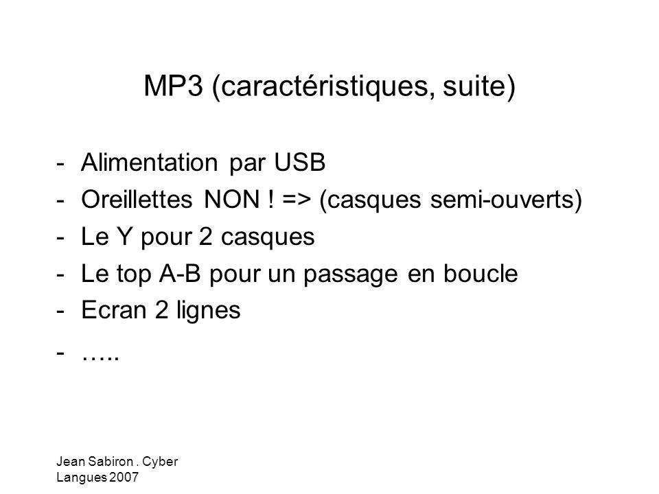 MP3 (caractéristiques, suite)