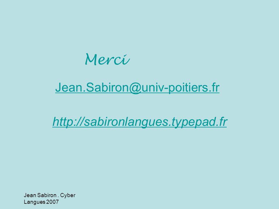 Jean.Sabiron@univ-poitiers.fr http://sabironlangues.typepad.fr