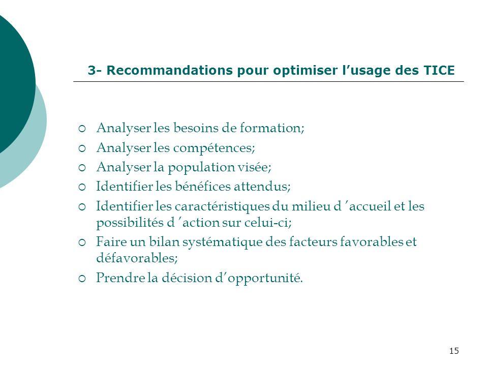 3- Recommandations pour optimiser l'usage des TICE