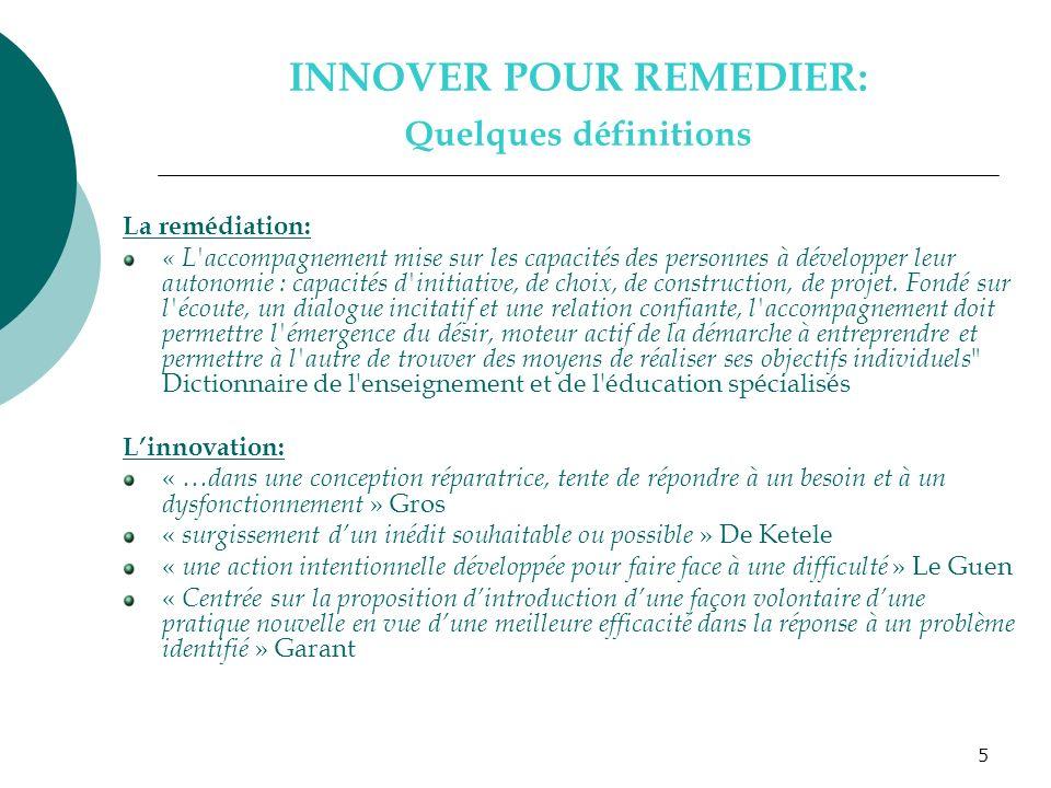 INNOVER POUR REMEDIER: Quelques définitions