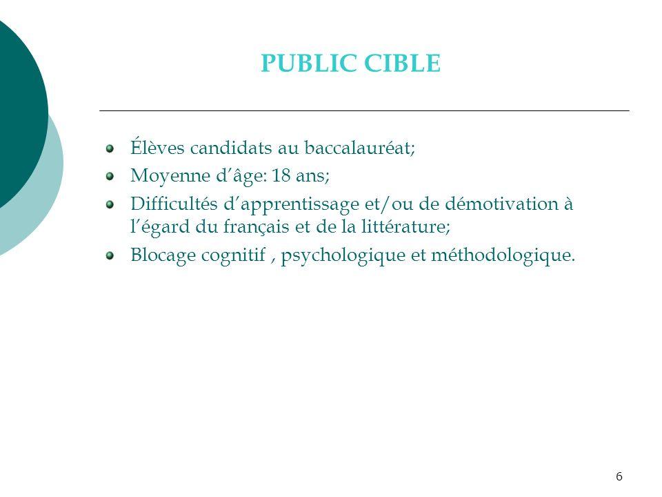 PUBLIC CIBLE Élèves candidats au baccalauréat; Moyenne d'âge: 18 ans;