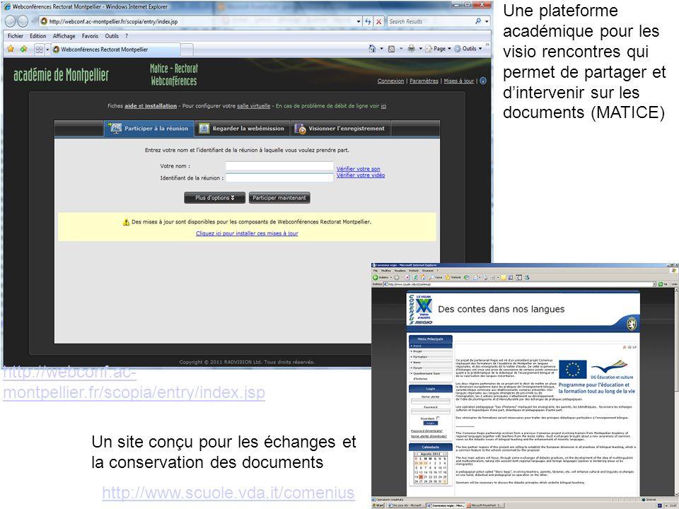 Une plateforme académique pour les visio rencontres qui permet de partager et d'intervenir sur les documents (MATICE)
