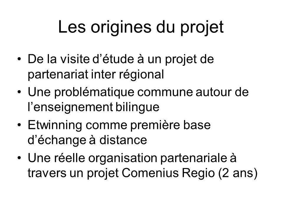 Les origines du projetDe la visite d'étude à un projet de partenariat inter régional. Une problématique commune autour de l'enseignement bilingue.