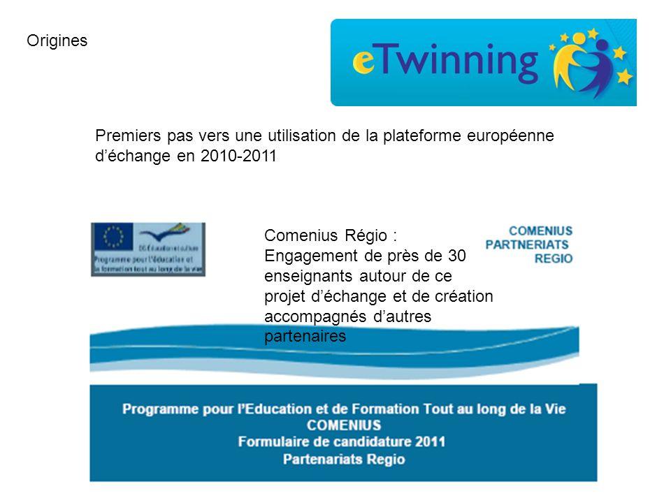 Origines Premiers pas vers une utilisation de la plateforme européenne d'échange en 2010-2011.