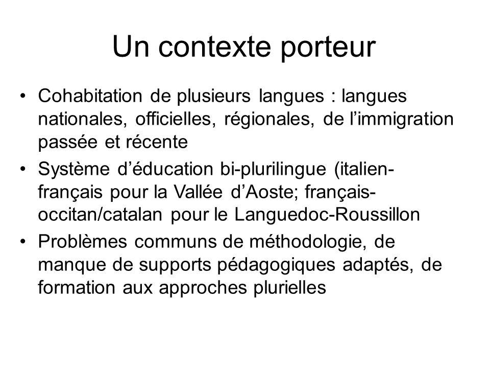 Un contexte porteur Cohabitation de plusieurs langues : langues nationales, officielles, régionales, de l'immigration passée et récente.