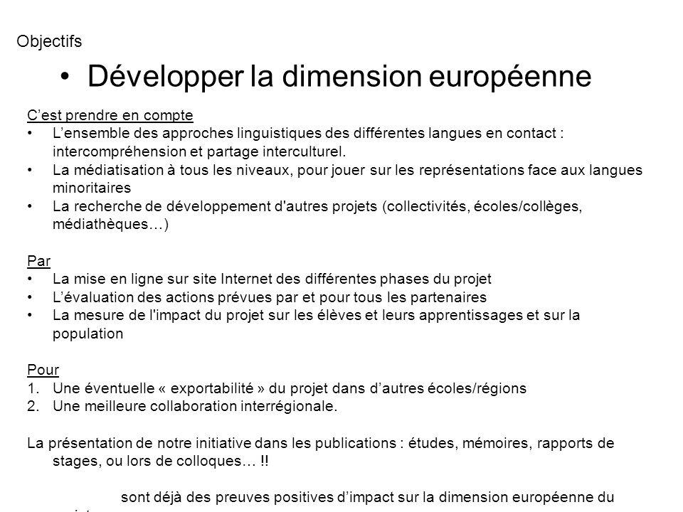 Développer la dimension européenne