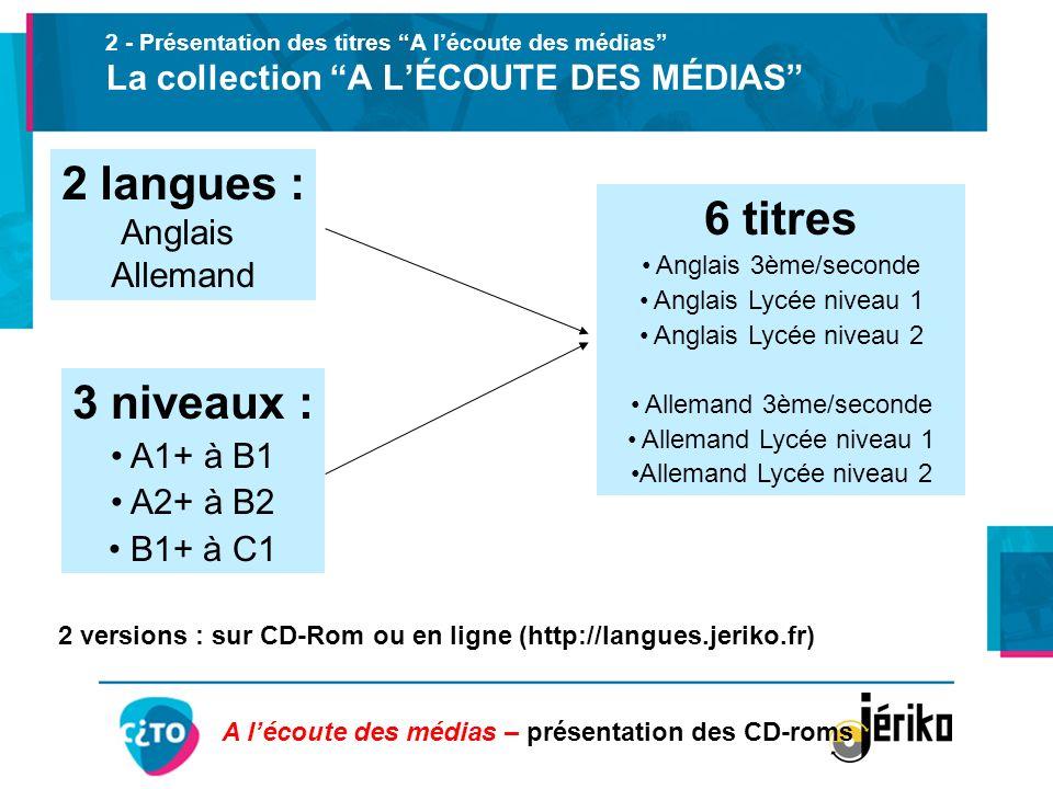 2 versions : sur CD-Rom ou en ligne (http://langues.jeriko.fr)