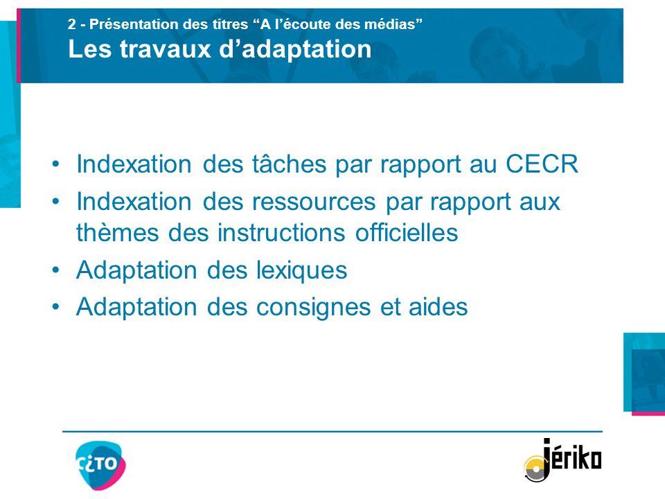 Indexation des tâches par rapport au CECR