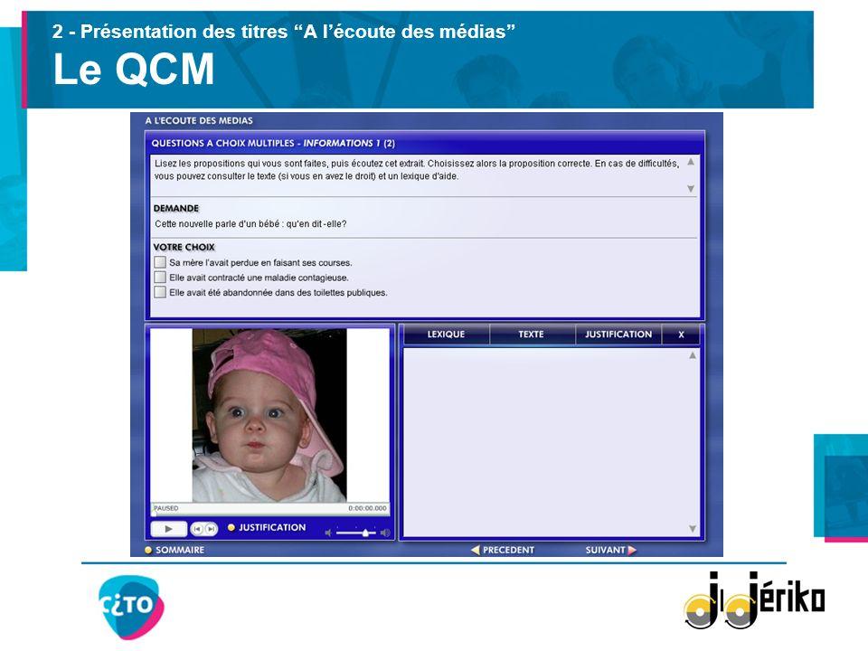 2 - Présentation des titres A l'écoute des médias Le QCM