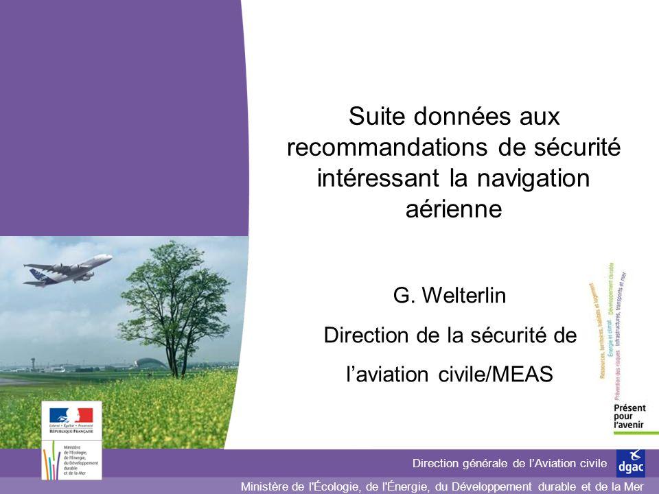 Suite données aux recommandations de sécurité intéressant la navigation aérienne