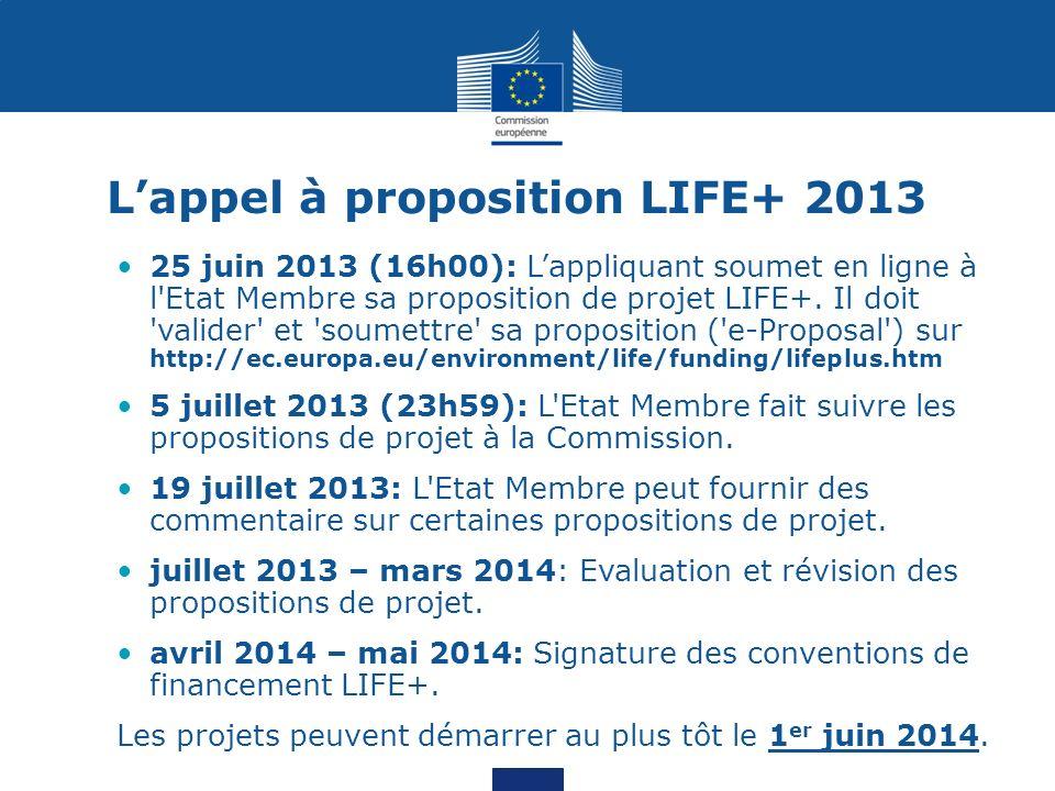 L'appel à proposition LIFE+ 2013