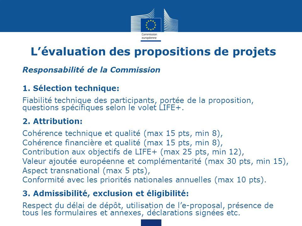 L'évaluation des propositions de projets