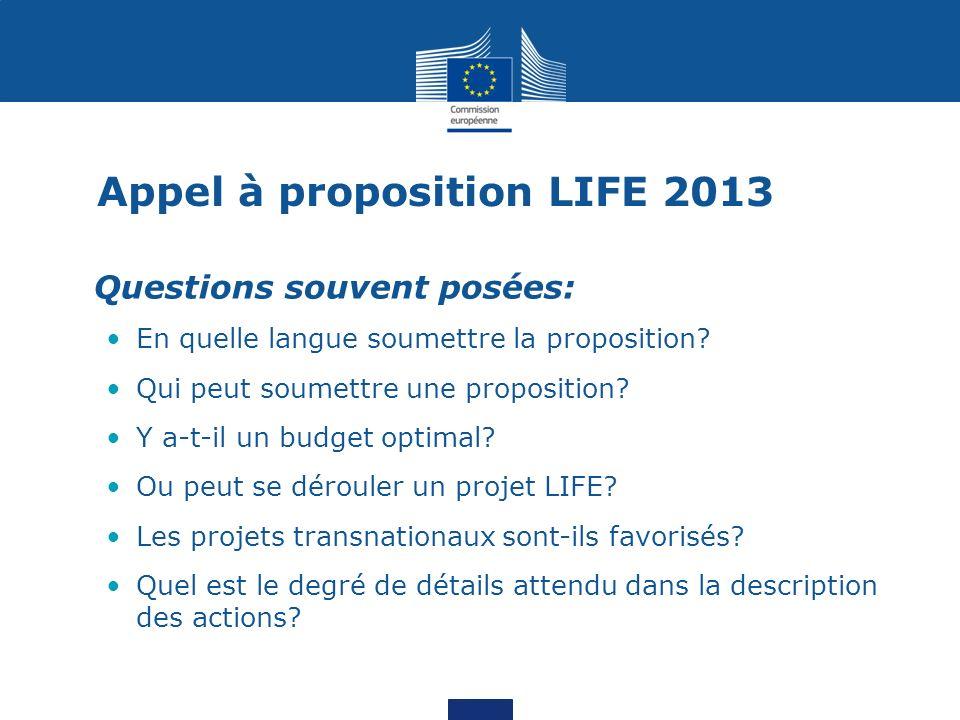 Appel à proposition LIFE 2013