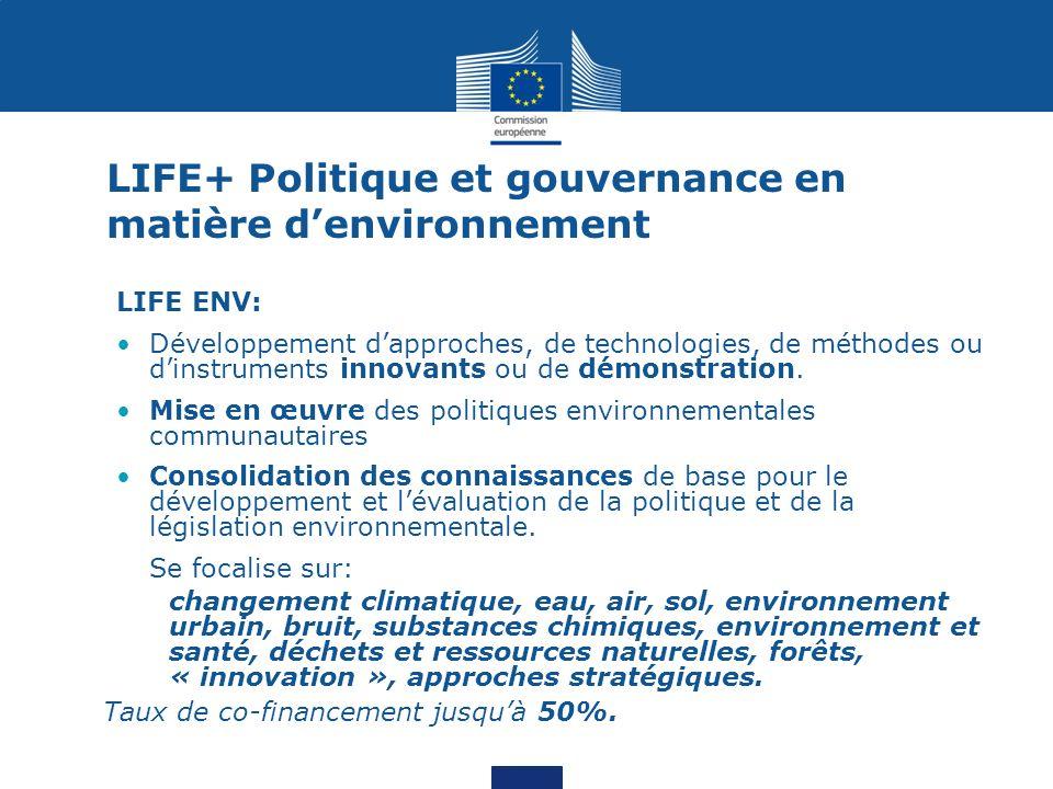 LIFE+ Politique et gouvernance en matière d'environnement
