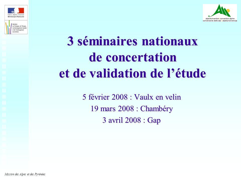 3 séminaires nationaux de concertation et de validation de l'étude