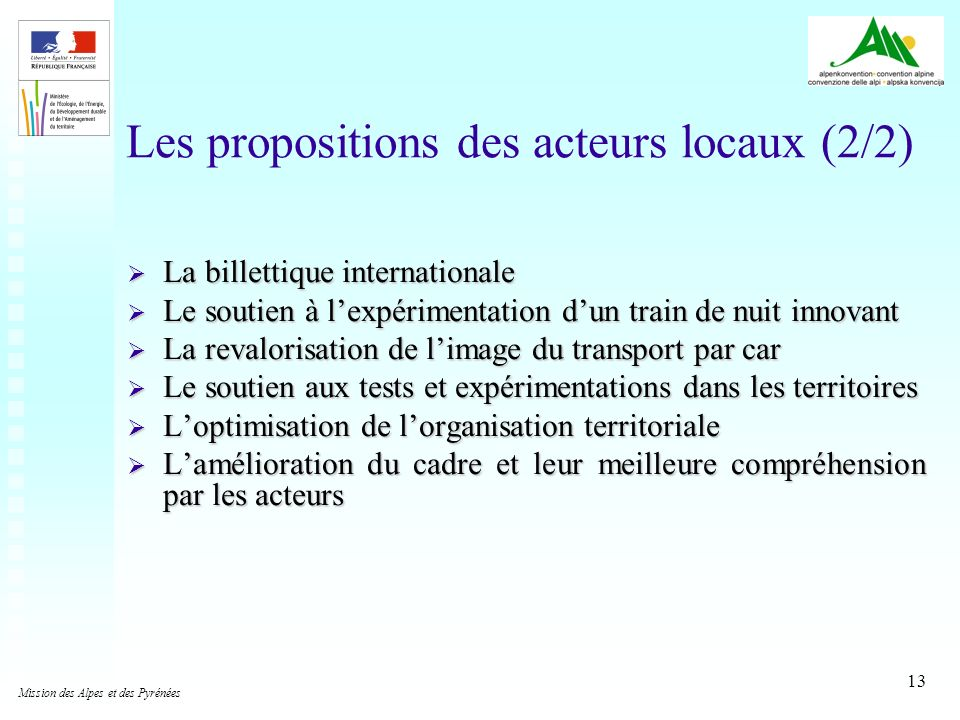 Les propositions des acteurs locaux (2/2)