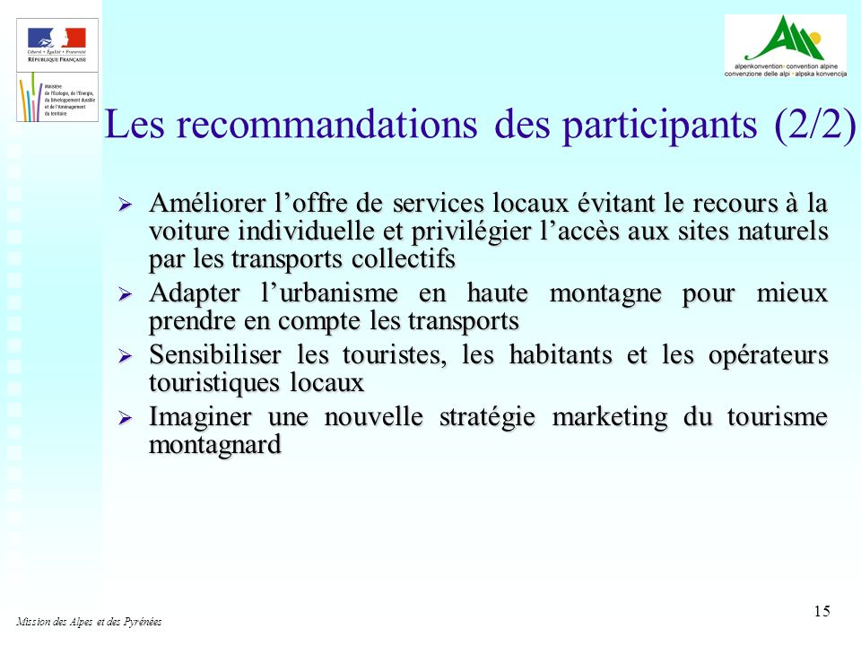 Les recommandations des participants (2/2)