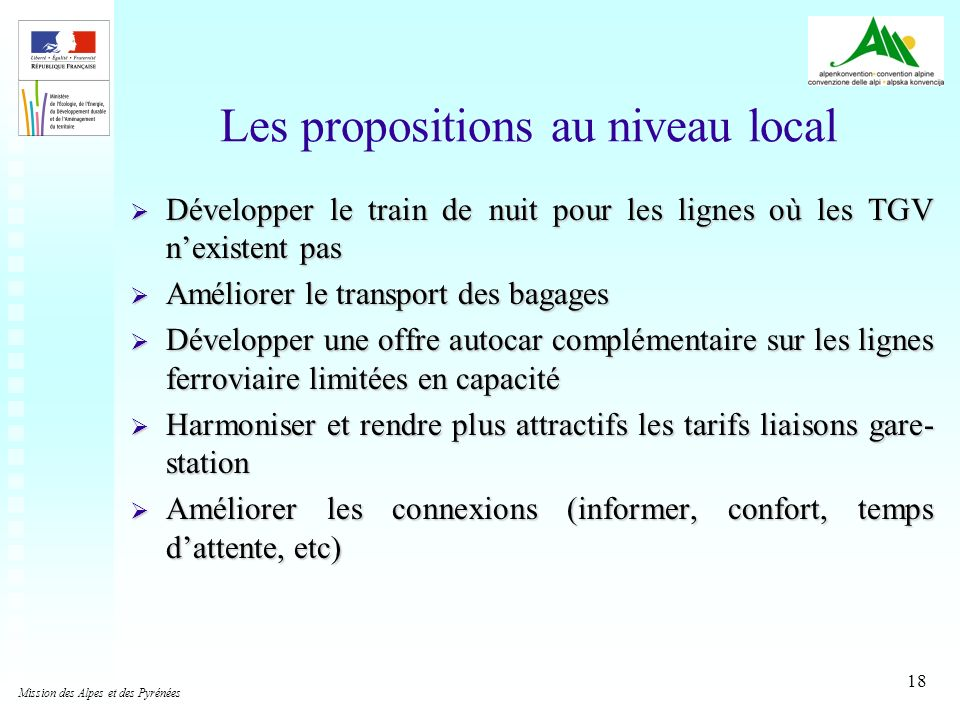 Les propositions au niveau local