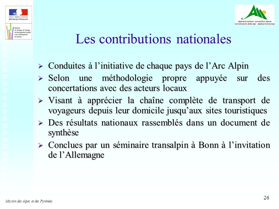 Les contributions nationales