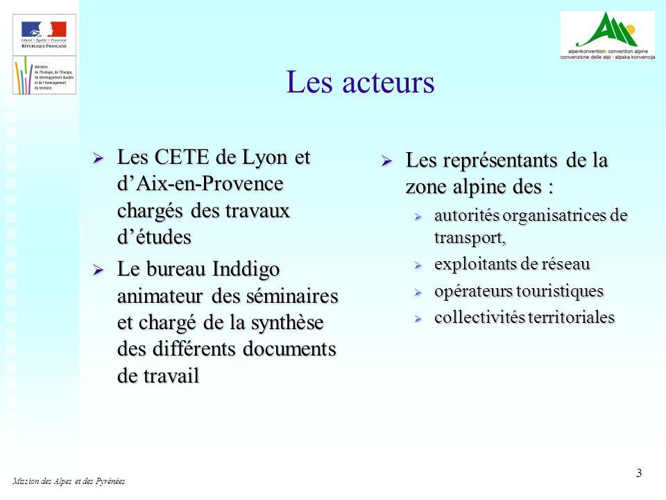 Les acteurs Les CETE de Lyon et d'Aix-en-Provence chargés des travaux d'études.