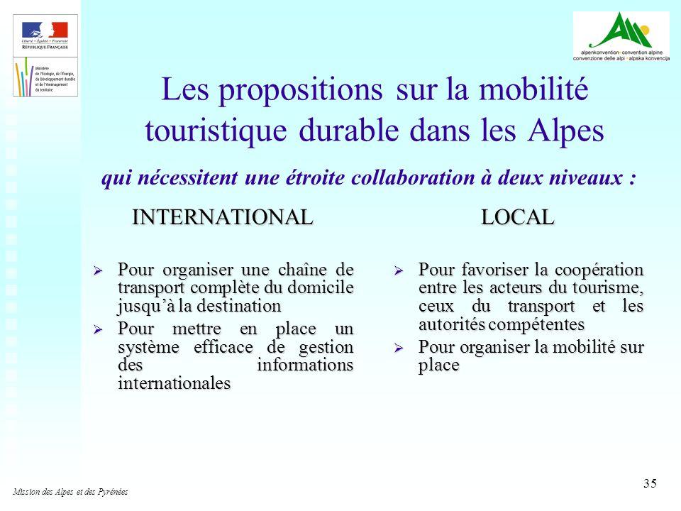 Les propositions sur la mobilité touristique durable dans les Alpes