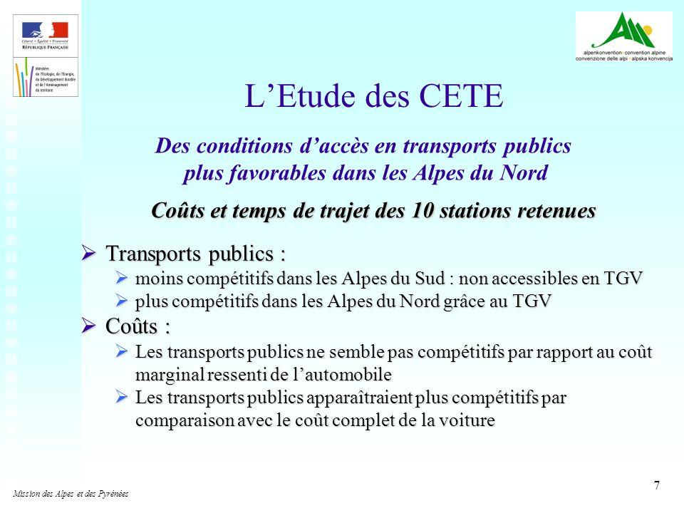 L'Etude des CETE Des conditions d'accès en transports publics